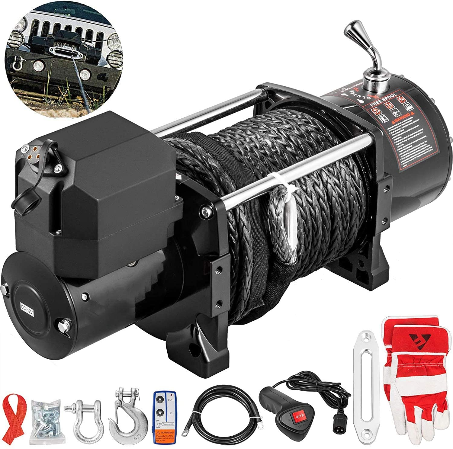 VEVOR Truck Winch 17500Ibs Electric Winch 85ft/26m Synthetic Rope Black 12V 6.6hp Power Winch Jeep Winch with Wireless Remote Control and Powerful Motor for UTV ATV & Jeep Truck Wrangler Accessories