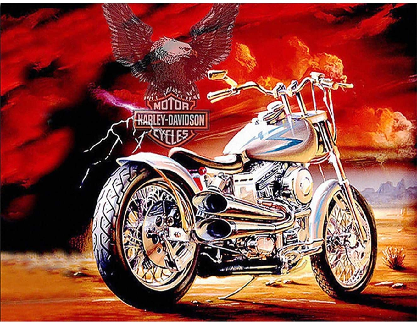 Bimkole DIY 5D Diamond Painting Kit Motorcycle by Number Kits Paint with Diamonds Arts DIY for Home Decor, 12X16 inch(m3-486)