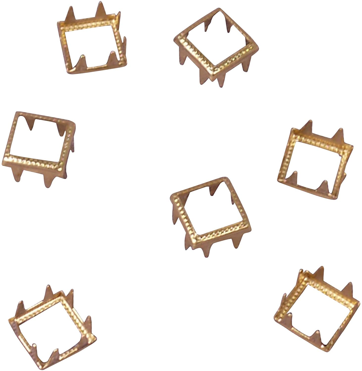 Porcelynne Gold Metal Square Open Decorative Vintage Studs Leathercraft DIY Punk Spikes Spots Studs Goth Nailhead - 13mm - 500 Pieces