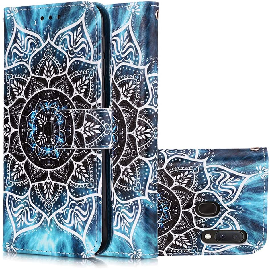 COTDINFORCA Samsung A10E Case, Samsung Galaxy A20E Wallet Case Premium PU Leather Case Creative Painted Effect Design Full-Body Protective Cover for Samsung Galaxy A10E / A20E Blue Mandala YB