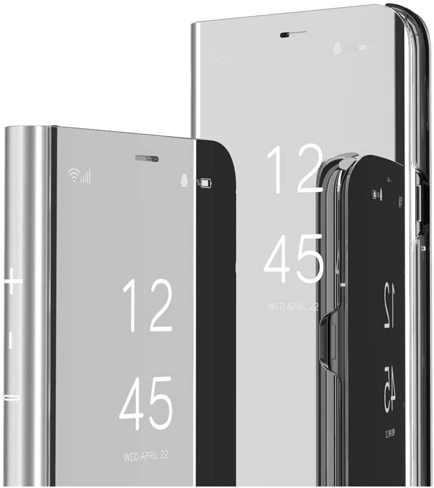 ISADENSER Xiaomi Redmi Note 7 Case Redmi Note 7 Pro Case Flip Plating Mirror Makeup Glitter Slim Shockproof Full 360 Body Protective Case for Xiaomi Redmi Note 7 / Redmi Note 7 Pro Mirror Silver