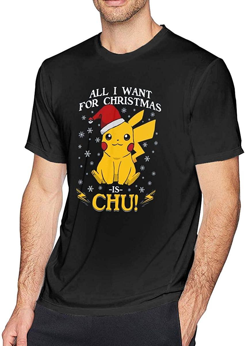 ERDONE All I Want for Christmas is Chu Pikachu Knit Pattern Mens Tee Novelty Short Sleeve T-Shirt Black