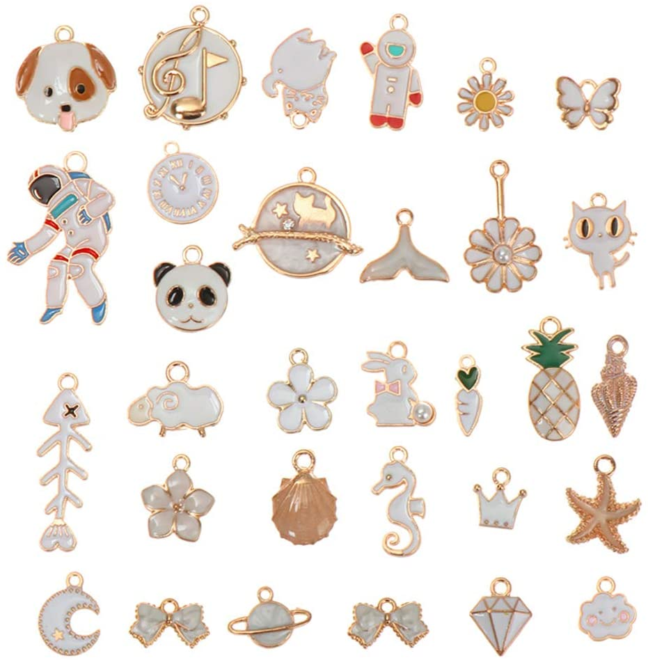SKONHED 31PCS Bracelet Earring Animal Pendant, Starry Sky Fruit Enamel Pendant, Suitable for DIY Jewelry Making Necklace Bracelet Earrings (6 Styles) (White)