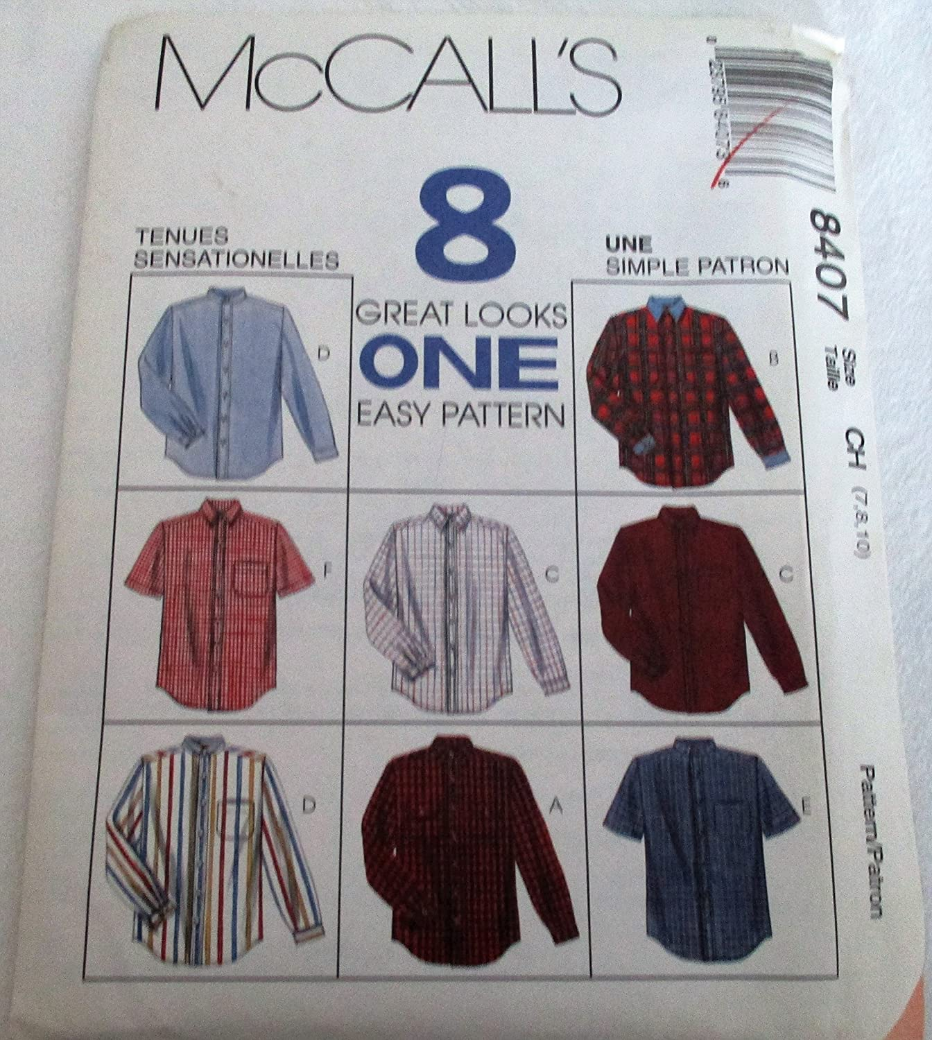 McCall's 8407 Children's and Boys Shirt Pattern Size 7,8,10