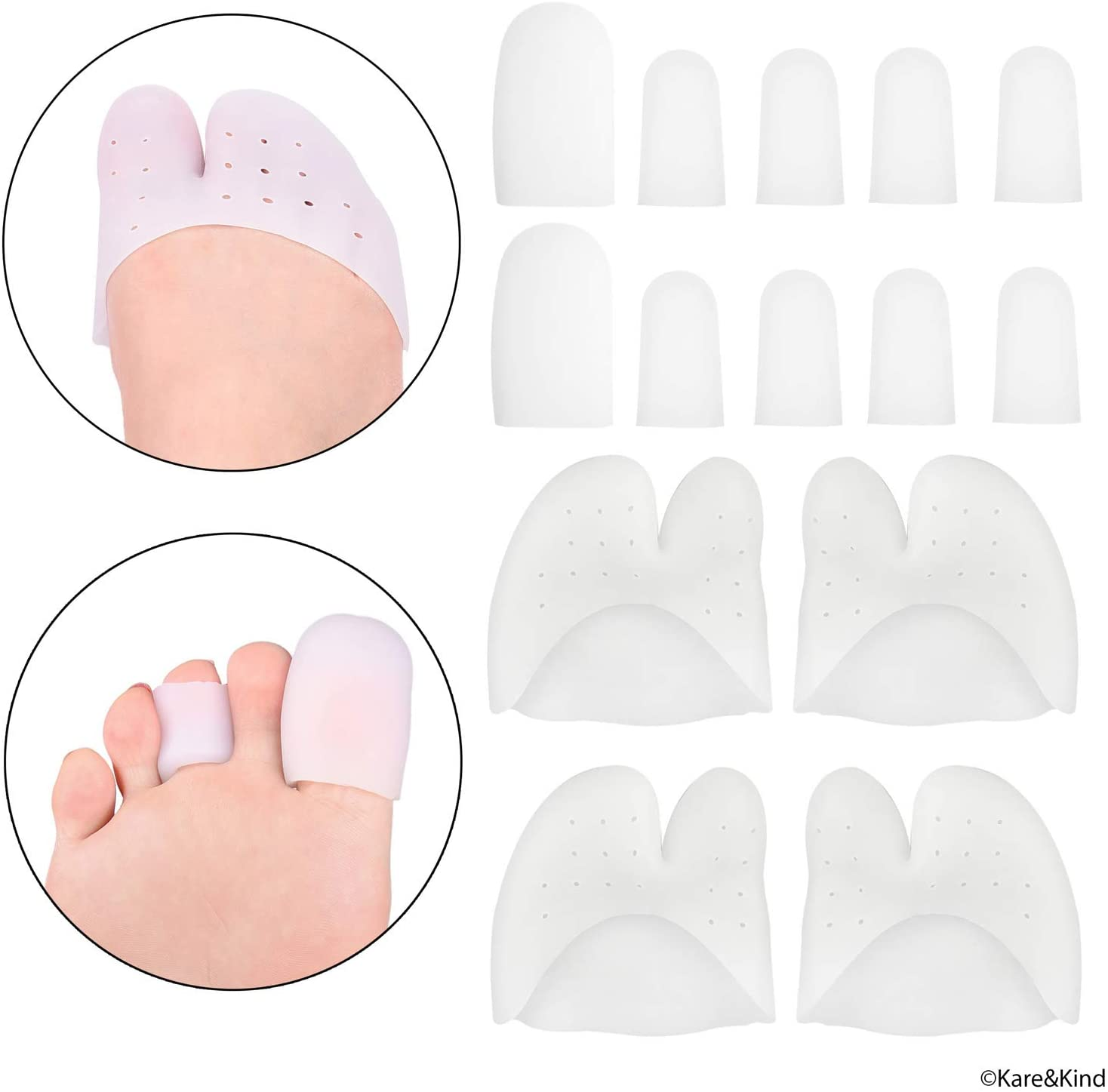 Set of 10 Toe Tube Caps and 4 Toe Sleeves - Soft Silicone - Offers Pain/Friction/Pressure Relief - Ideal for Bunions, Blisters, Corns, Callus Problems, Toenail Loss, Ingrown Toenails, Hammer Toes