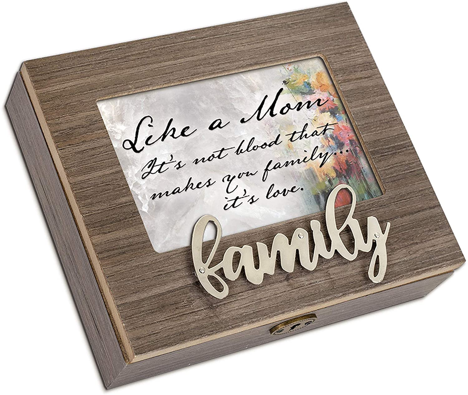 Cottage Garden Love Makes You Family Mom Metal Appliqué Family Music Box Plays Wind Beneath My Wings