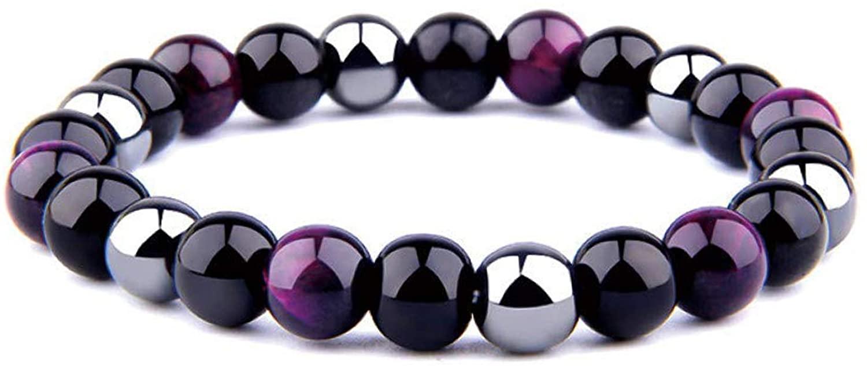 KSQS Triple Protection Bracelet,for Protection - Bring Luck and Prosperity,Hematite Beads+Black Obsidian+Tiger's Eye Stone Bracelets