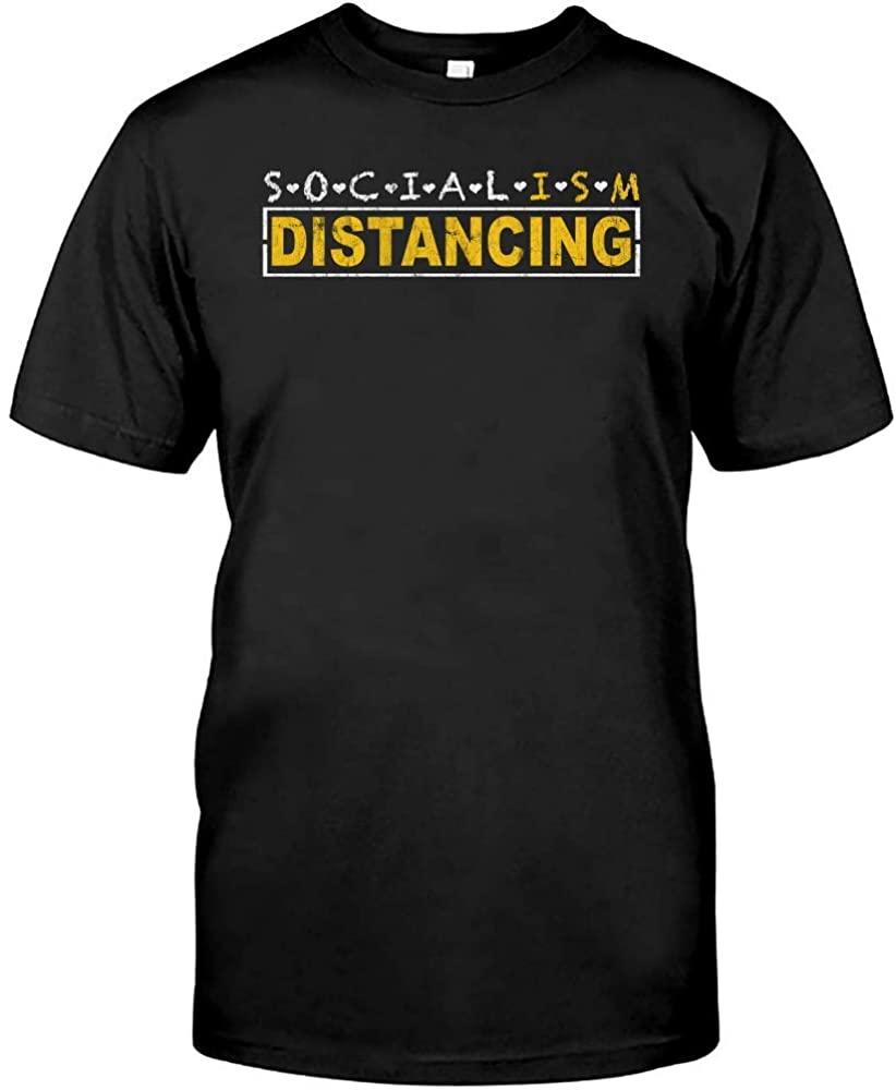 Anti Socialism Social Distancing Political Socialist Funny T-Shirt Novelty Funny Graphics Short Sleeve Unisex Tee Shirts