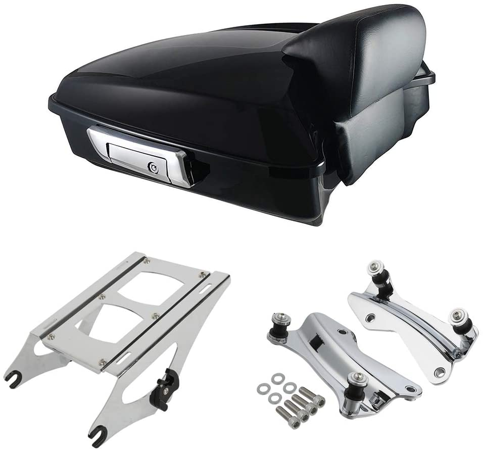 XMT-Moto Vivid Black Chopped Tour Pack Luggage Kit w/Small Backrest Pad fits for Harley Davidson Touring Models 2014-late,with Chrome Tour Pack Mounting Kit
