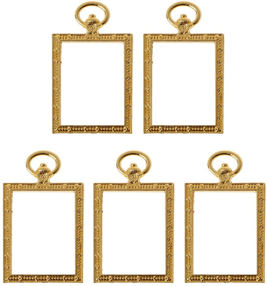 minansostey 5Pcs Square Pocket Watch Pendant Resin Frames Open Bezels Setting Jewelry Making