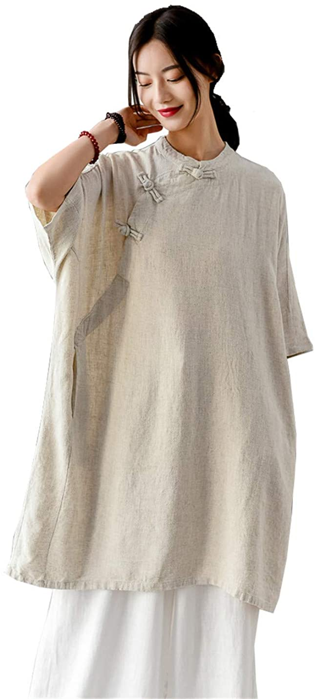 Shanghai Story Women's Retro Tunic Dresses Ethnic Cotton Linen Chinese Frog Button Top Tees