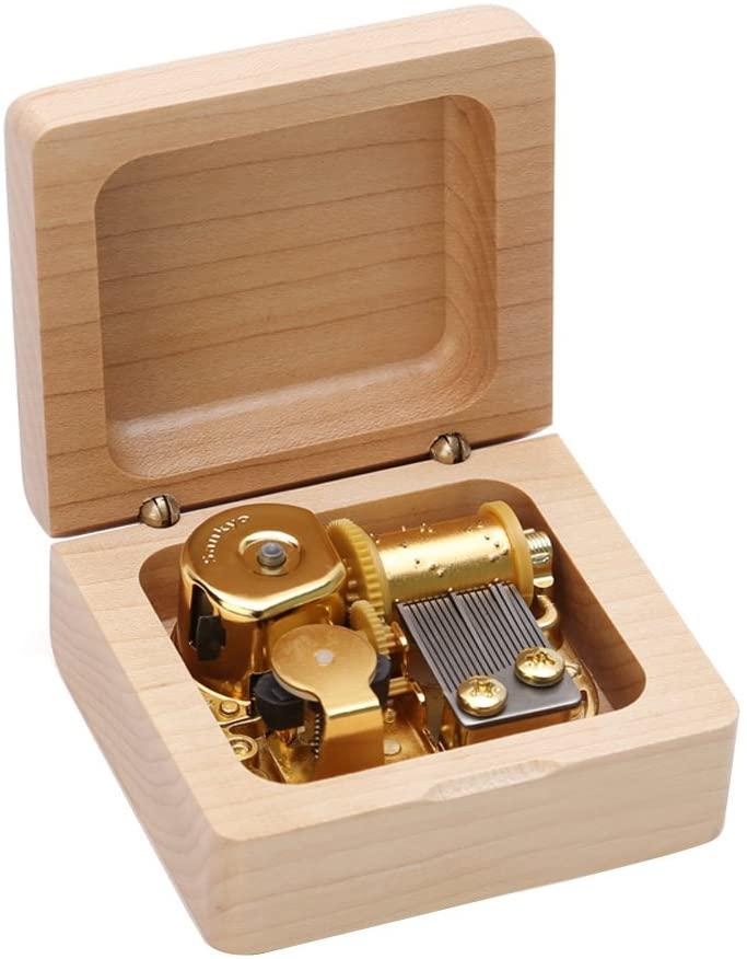 Kicat Christmas Music Box Wooden Music Box Boutique Creative Birthday Gift (001: Maple Music Box, A: Kanon)