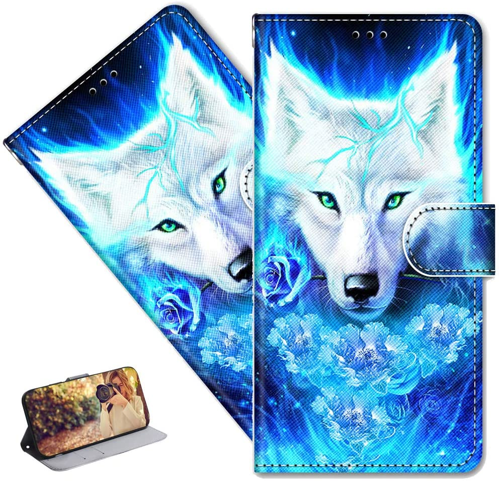 MRSTERUS LG V40 case Creative Cute Painted Pattern Design PU Leather flip Notebook Wallet Protective Cover Magnetic Stand Slot Bumper Box for LG V40 Blue Wolf DK