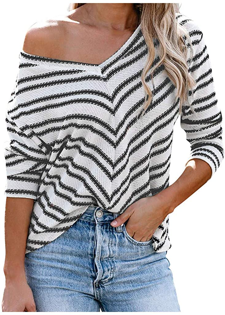 UNBRANDE Womens Long Sleeve Tops Fashion Casual Stripe O-Neck Womens Blouse Shirts Loose Autumn Pullover