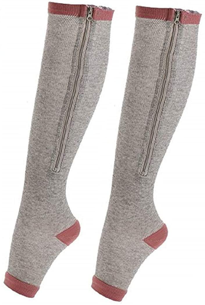 Zipper Compression Socks (1 Pair) Men Women Running Pregnancy Flight & Travel Nursing (Grey/BrickRed, Small/Medium - (Calf 10-14)(Ankle 6-9))