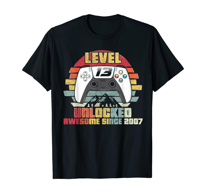 Level 13 Unlocked Video Gamer 13 Years Old 13 Birthday Gift T-Shirt