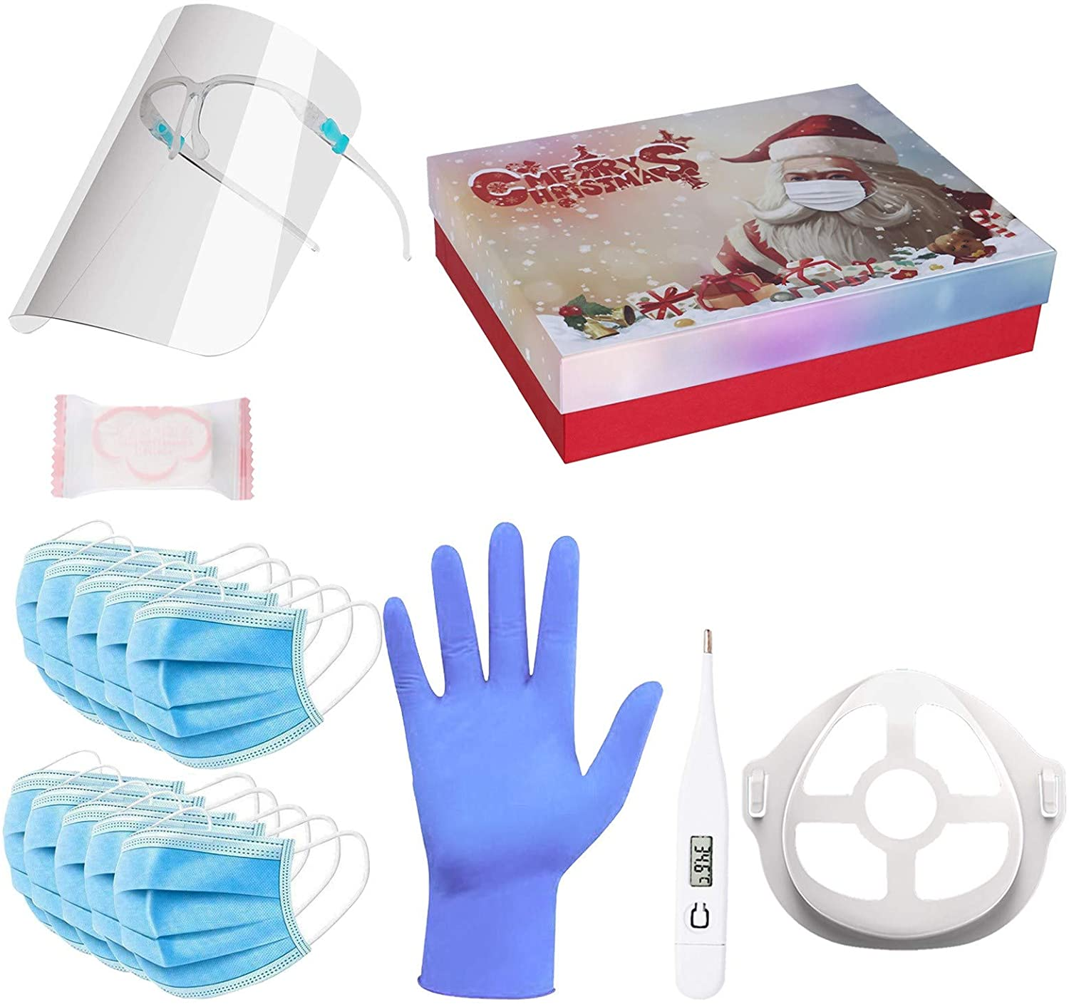 2020 New Christmas Gifts, Christmas Luxury Gift Box Set, Including Face Bandanas, Therm0meter, Gl0ves, Holders, Compressed Towel, Bracket 28 Pack Gifts