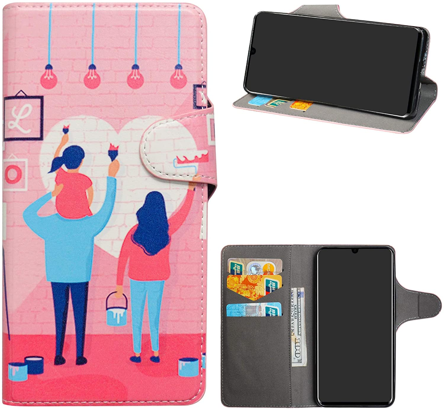 HHDY Compatible with Huawei P30 Pro Case,Flip PU Leather Wallet with Viewing Stand/Card Slots Pattern Design Cover for Huawei P30 Pro,Family