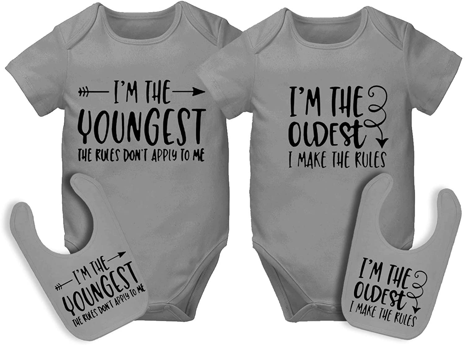 AOUYOA Unisex Twin Bodysuits Sister and Brother Baby Outfits Baby Girls and Boys, Vest Set Twins Clothing Gift