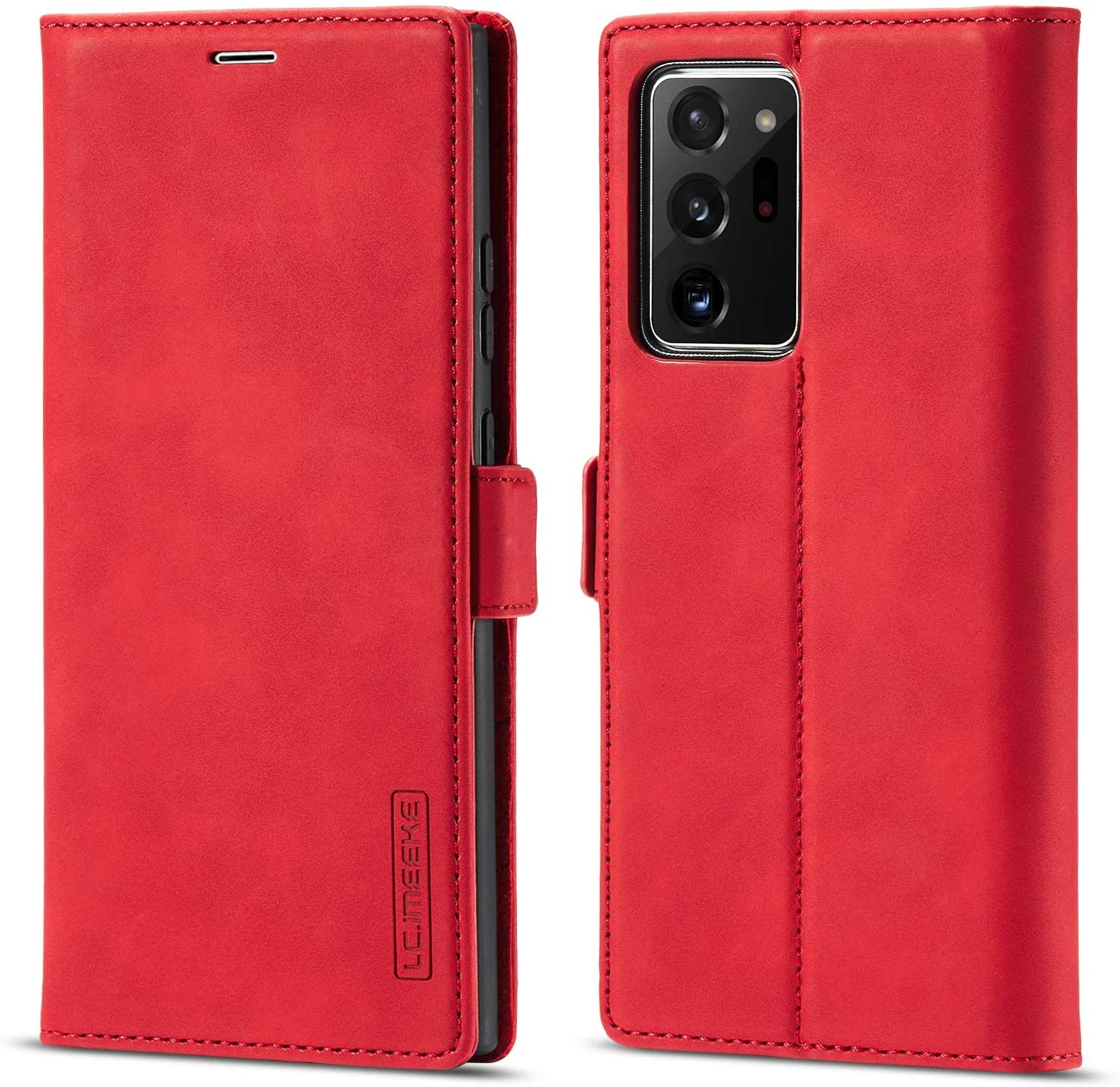 EYZUTAK Case for Samsung Galaxy S8, Classic Matte Leather Wallet Case Flip Notebook Style Cover with with Magnetic Closure Kickstand Card Slots - Red