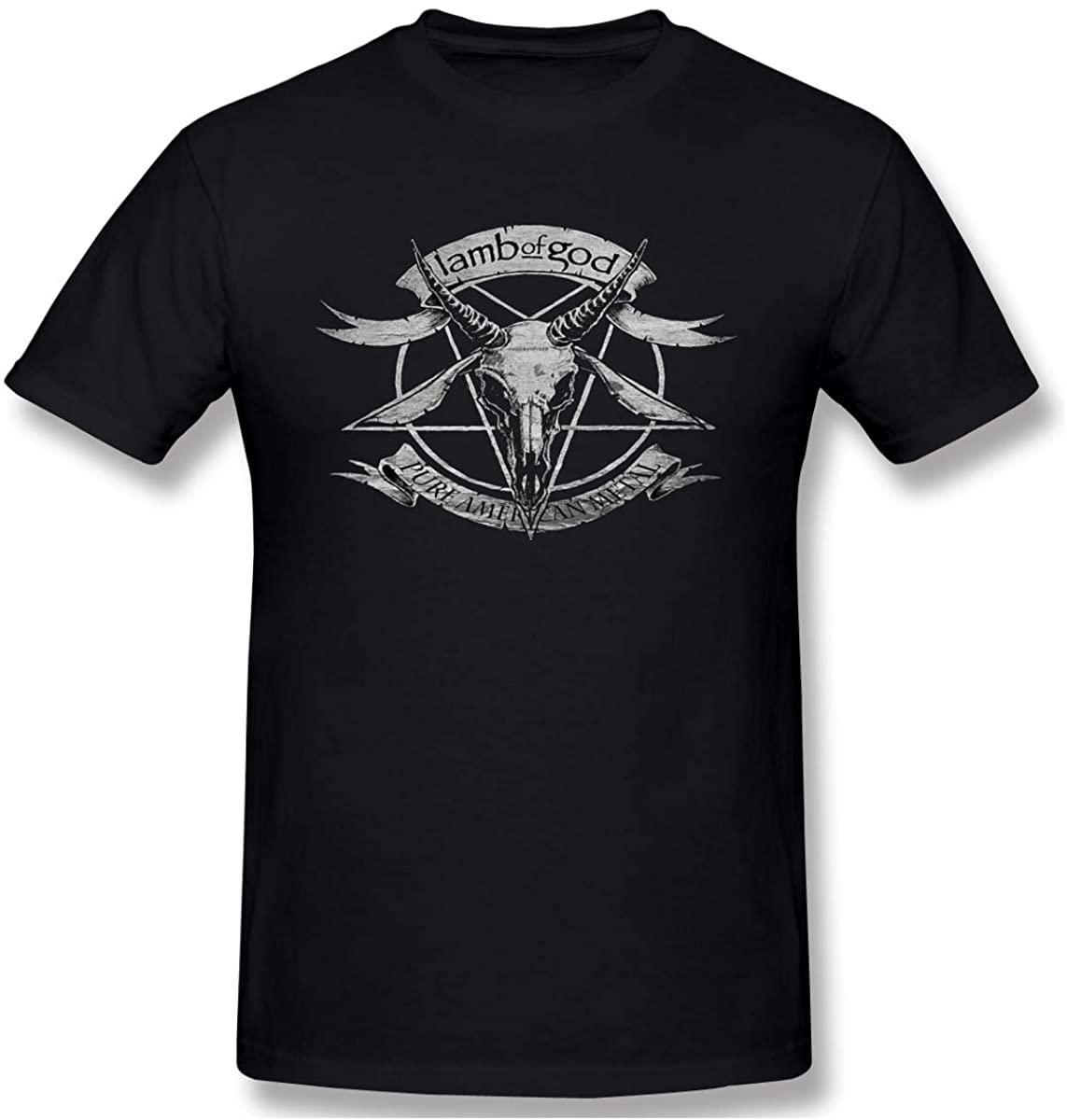 Donmlier Men Shirt Basic Lamb of God Crew Neck Short Sleeves T-Shirts