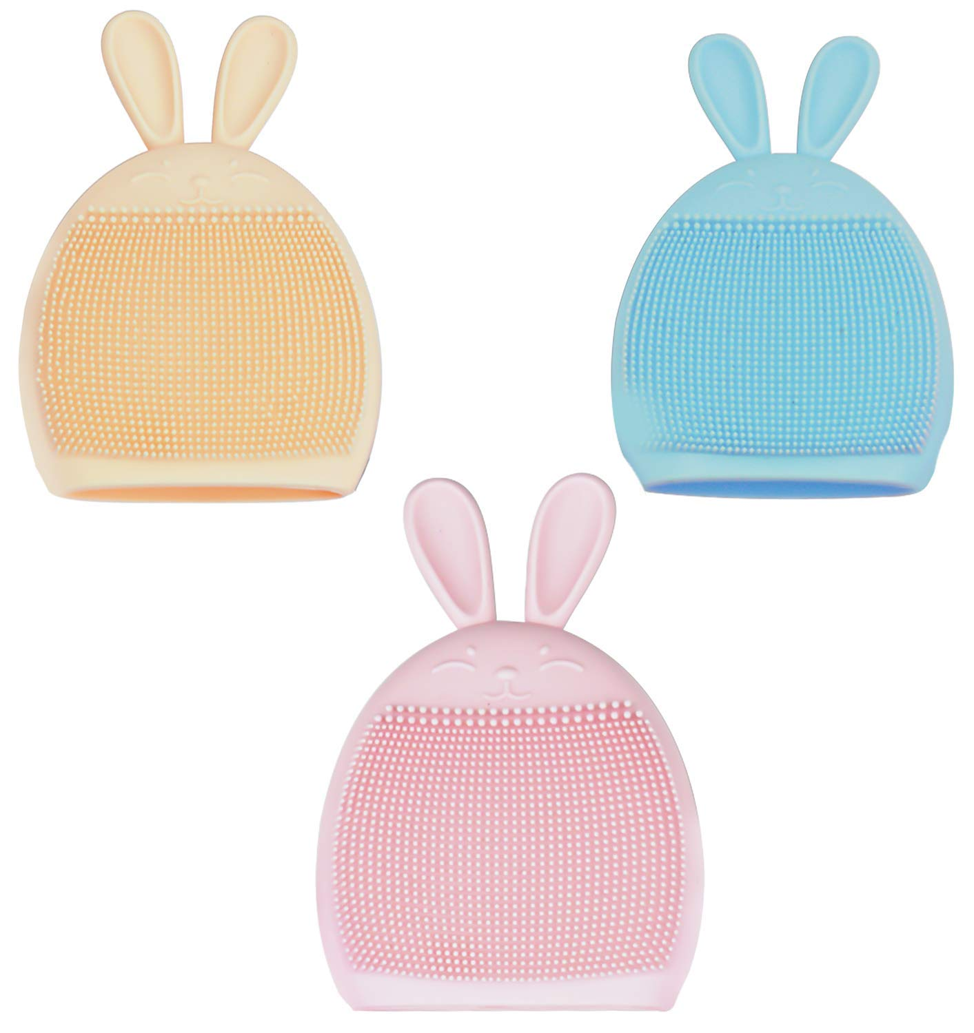 Silicone Face Brush, Face Cleanser and Massager Scrubber Pad, Super Soft Manual Facial Cleansing Brush, Gentle Exfoliating, Removing Blackhead, Massaging Brush (Rabbit-3 pack- B)