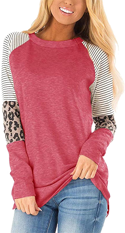 BOFETA Women's Leopard Printed Long Sleeve Top Fashion Stripe Pullover Shirts Plus Size S-4XL