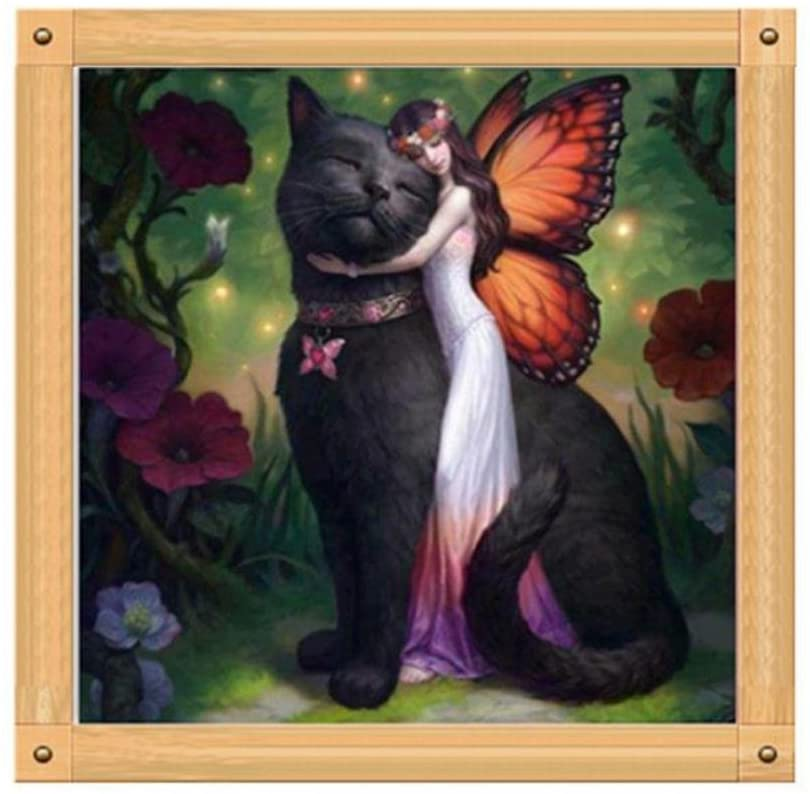 Yeefant Butterfly Girl and Big Cat Embroidery Paintings No Fading 5D Canvas Rhinestone Pasted DIY Full Drill Diamond Cross Stitch Home Wall Decor for Bedroom Living Room,12x12 Inch