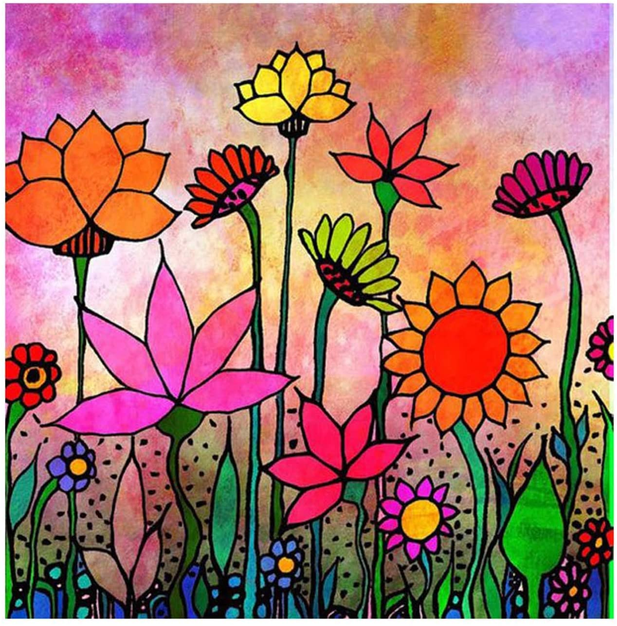 5D Diamond Painting Sunflowers and Flowers Full Drill by Number Kits, SKRYUIE DIY Rhinestone Pasted Paint with Diamond Set Arts Craft Decorations (20x20inch)