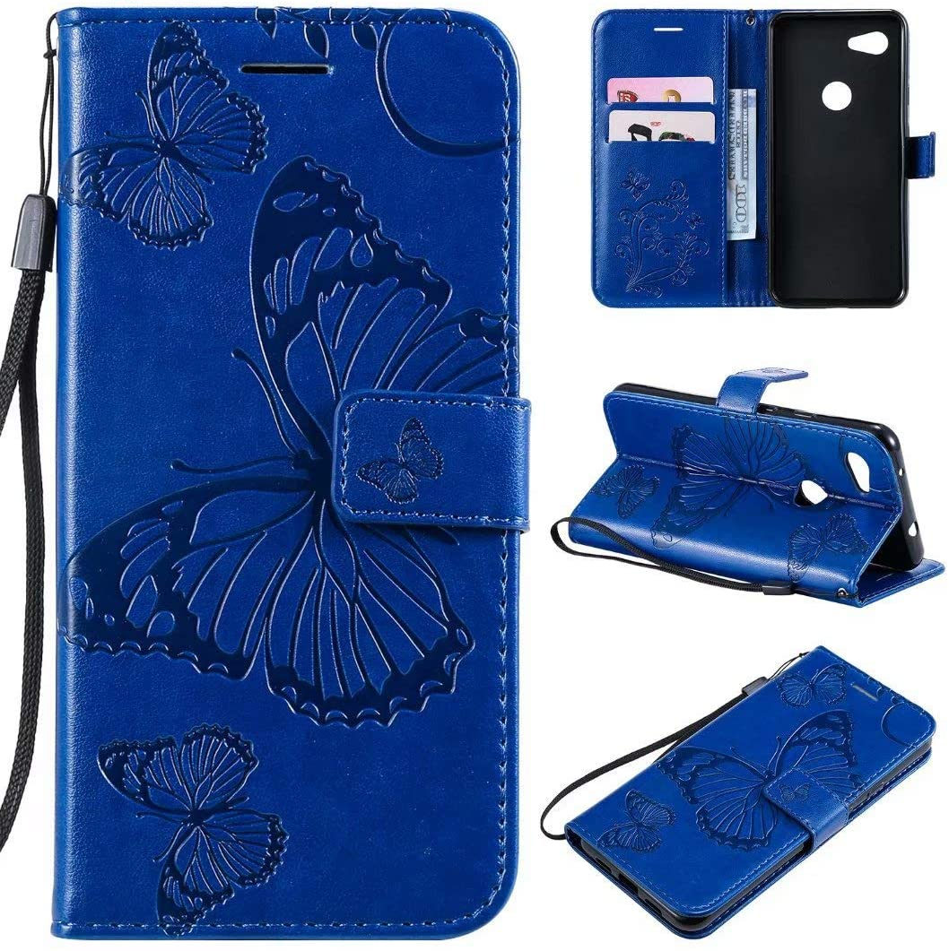 Cmeka 3D Butterfly Wallet Case for Google Pixel 3a with Credit Card Slots Holder Magnetic Closure Slim Flip Leather Kickstand Function Protective Case Blue