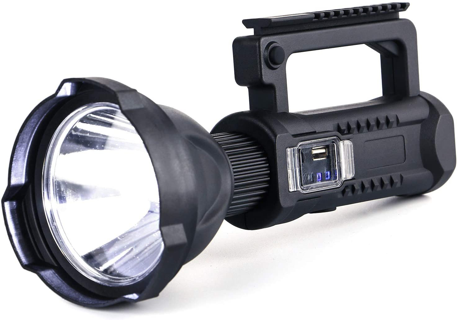 Rechargeable Spotlight 8000 Lumen Waterproof LED Hand Held Flashlight Super Bright High Powered Searchlight 5200 MAH Portable Tactical Light Camping Torch Lantern Work Light with 3 Modes