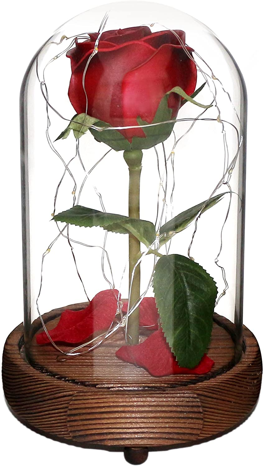 CVHOMEDECO. Battery Operated w/Timer LED Lighted and Red PU Rose with Fallen Petals in a Glass Dome, Great Gift for Valentine's Day Wedding Anniversary Birthday (Dia. 5-1/2 x H 9 Inch)