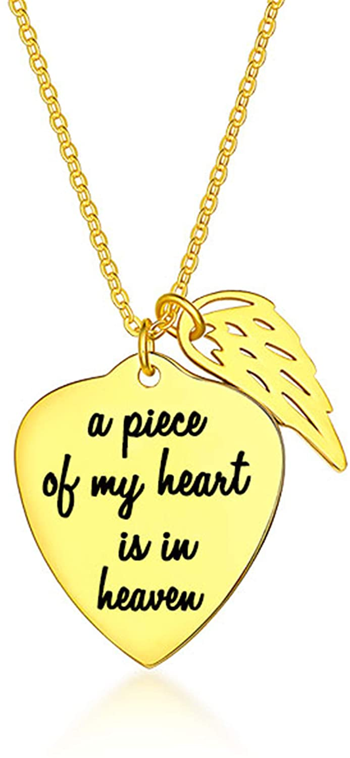 Getname Necklace Personalized Memorial Heart Necklace with Angel Wing Love Pendent Necklace for Women Girls Necklace