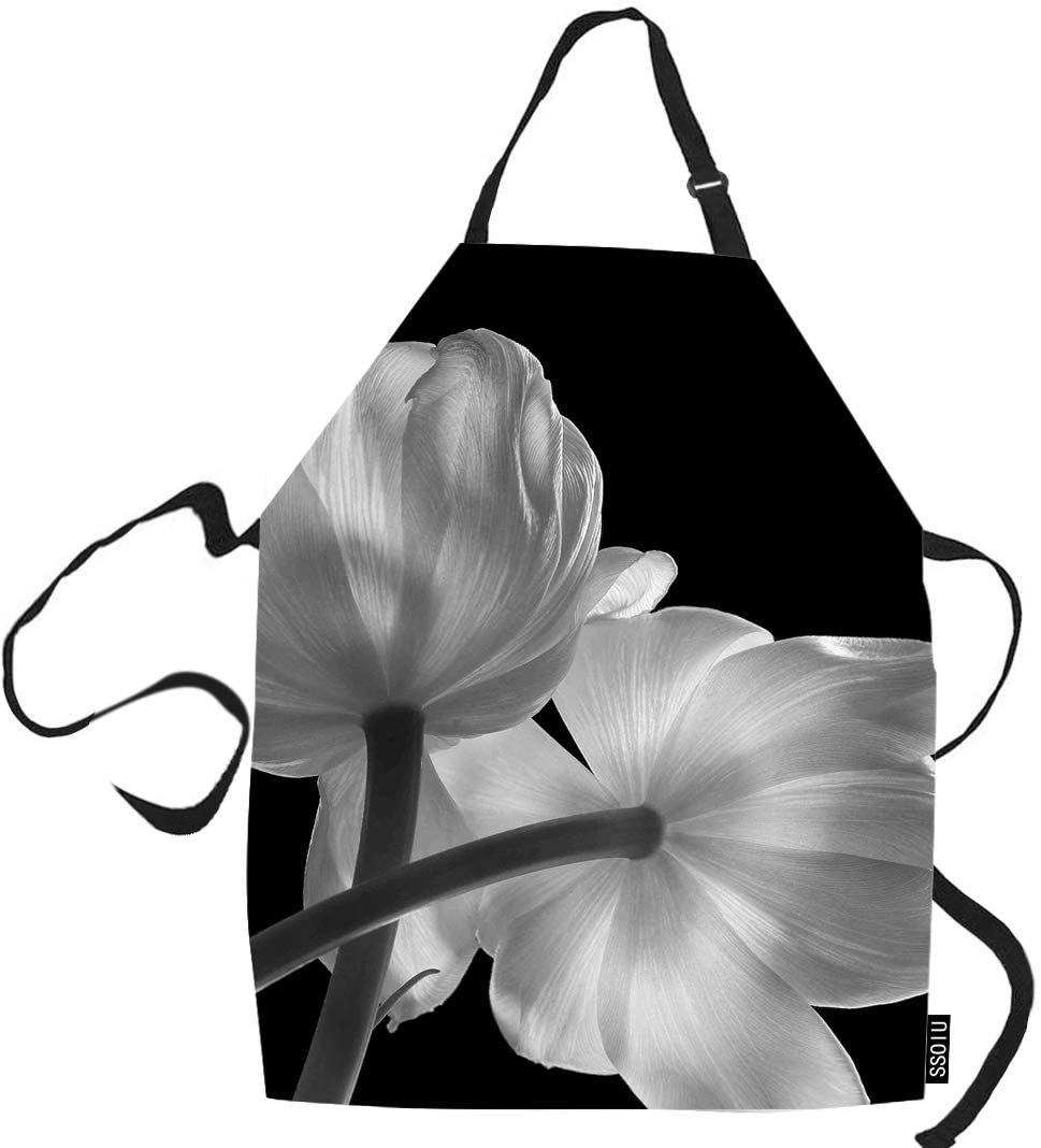 SSOIU Flowers Cooking Apron, Black and White Flowers Kitchen Apron for Baking/BBQ Men Women Unisex Waterproof 31X27 Inches