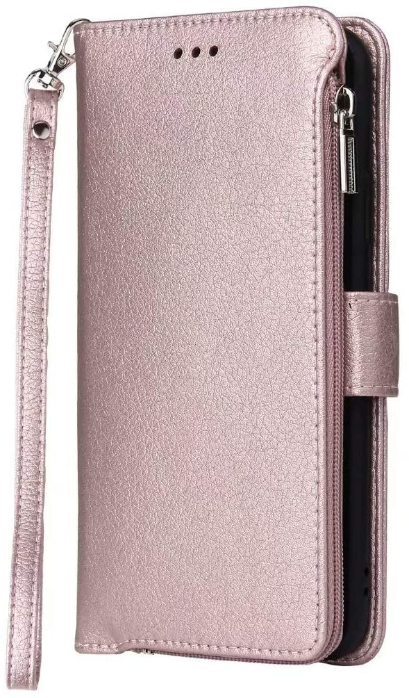 Galaxy A71 (Not Fit 5G Version) Wallet Lanyard Case Superfine Fiber PU Leather Magnetic Stand Flip Cover Built-in TPU Inner Shell with 3 Card Slots, Zipper, Wrist Strap Contracted Design - Rose Gold