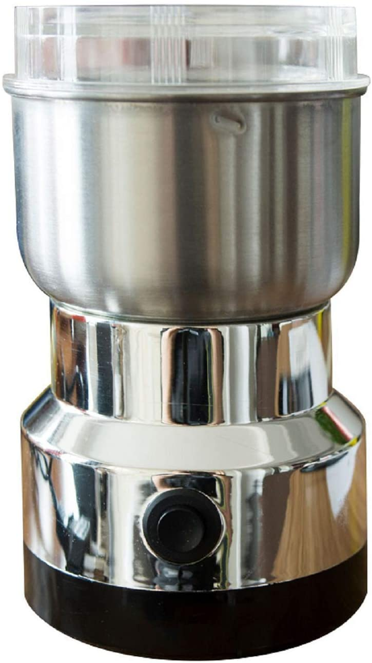 110V Electric Coffee Grinder,Grain Spice Beans Grinder Maker with 4r-leaf Stainless Steel Blades,Silver