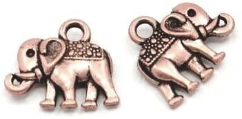 Wholesale Tibetan Elephant Charm Pendants Red Copper 14mm 20 Packs of 10