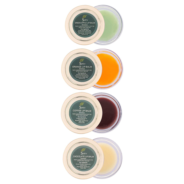SVATV - All Purpose Herbal Salve Lip Balm 0.5 oz (15g) :: Made in India (Coffee, Green Apple, Orange, Chocolate)