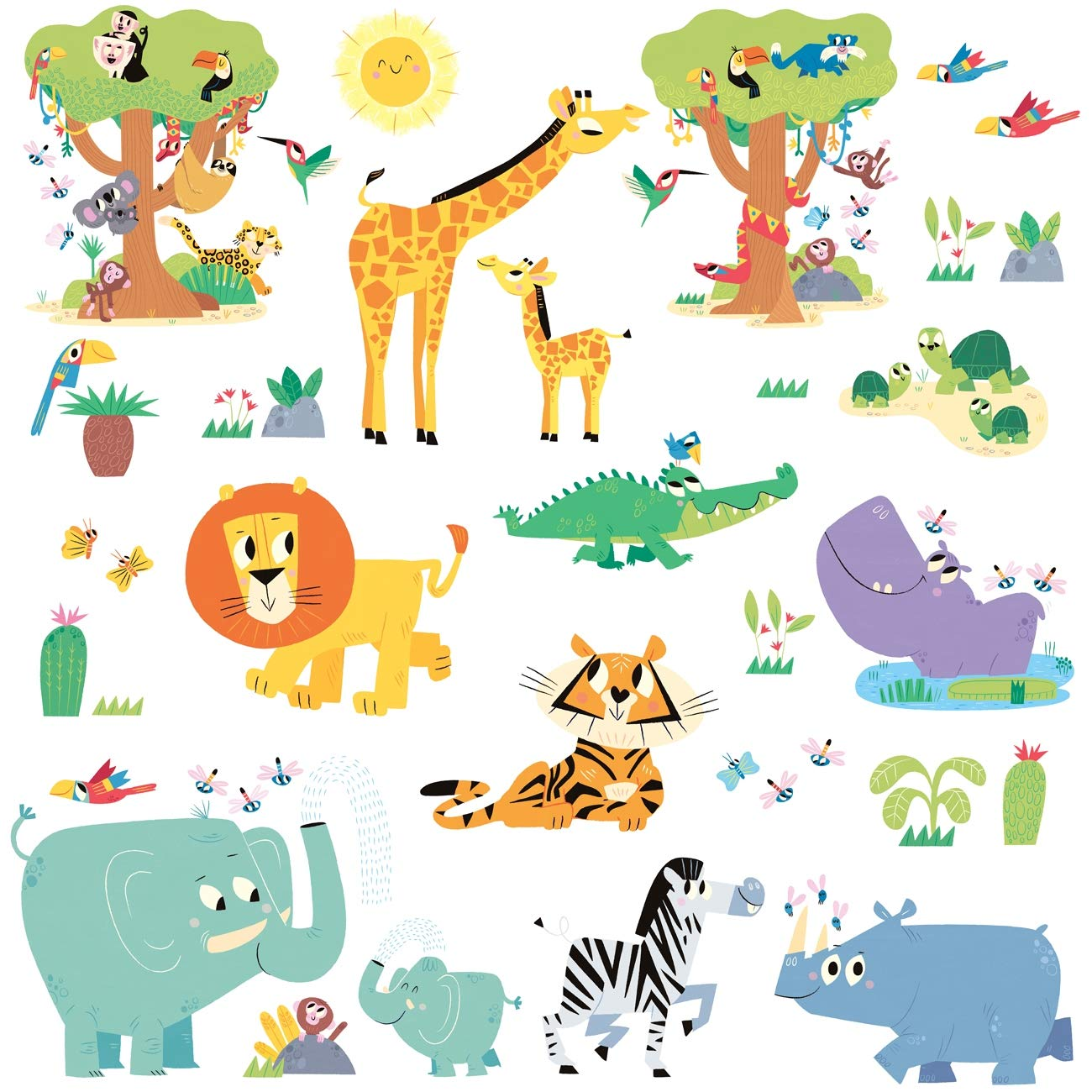 DECOWALL DW-1909 Happy Jungle Animals Kids Wall Stickers Wall Decals Peel and Stick Removable Wall Stickers for Kids Nursery Bedroom Living Room