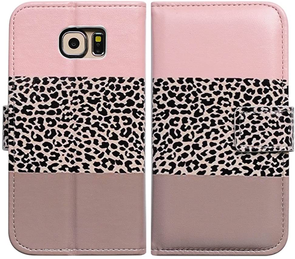 Bfun Packing Bcov Black Leopard Pink Leather Wallet Cover Case for Samsung Galaxy S6 GS6