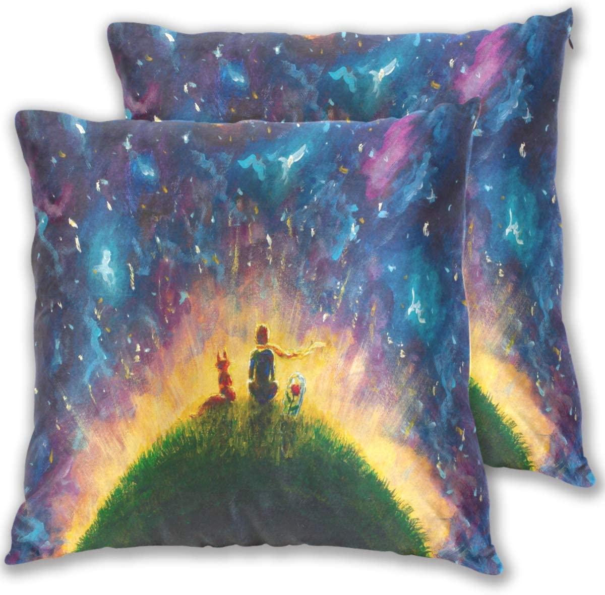 Throw Pillow Cover 20x20 Set of 2 Little Prince and Fox Under Starry Sky with Double-Sided Printing for Home Decorative