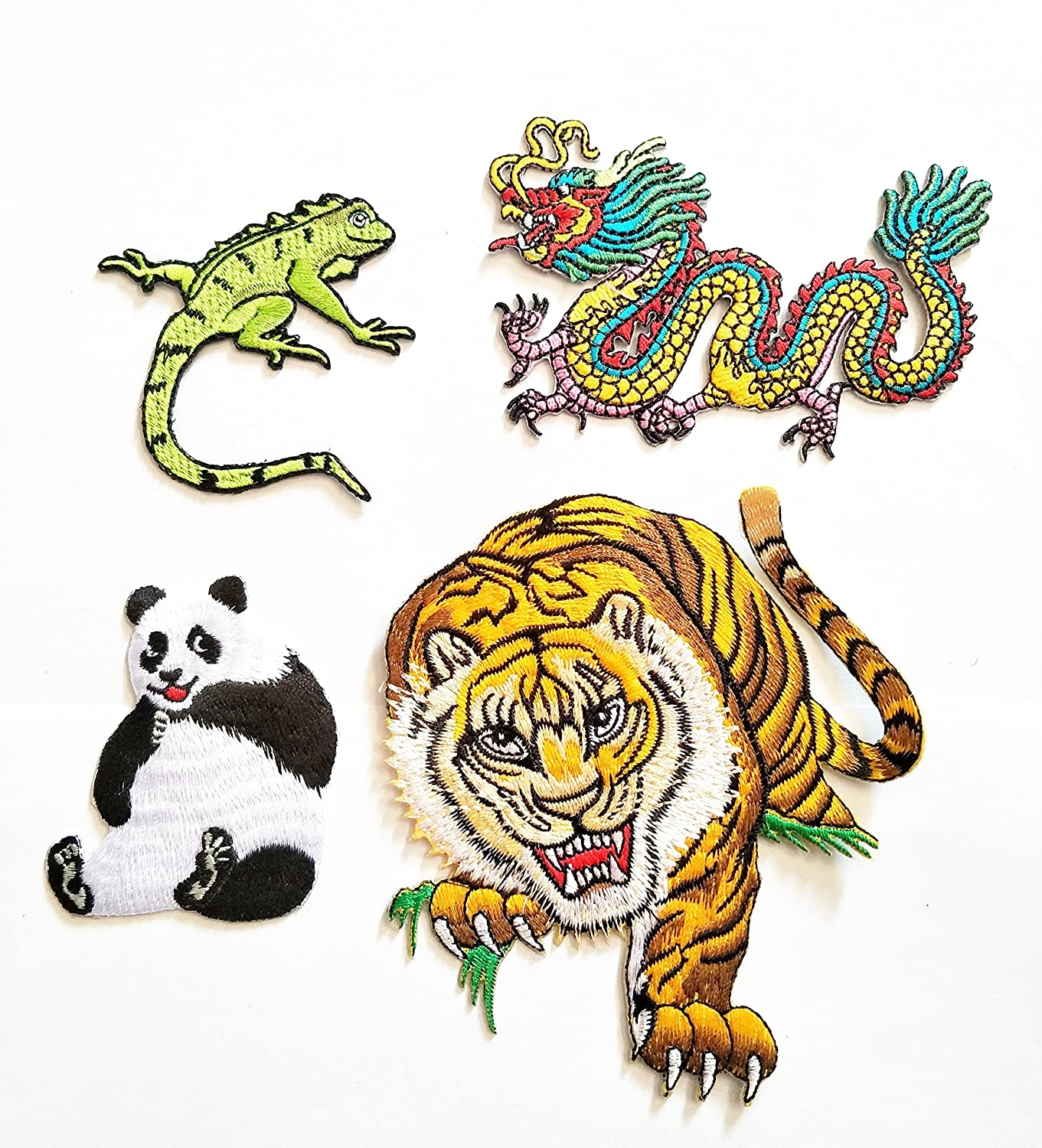 HHO 4 Piece Cute Animal Cartoon Patch chameleon dragon Panda Tiger Patch Kid Baby Boy Jacket T- Shirt Patch Sew Iron on Embroidered Symbol Badge Cloth Sign Costume