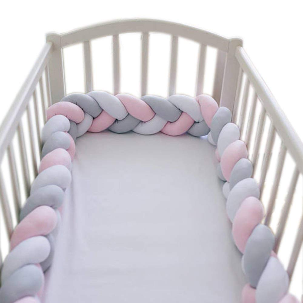 Soft Crib Bed Bumper Pillow Cushion Crib Bedside Protector Infant Cot Rails Knotted Braided Plush Nursery for Crib Cot Newborn Cradle Decor (78.74Inch, White&Pink&Grey)