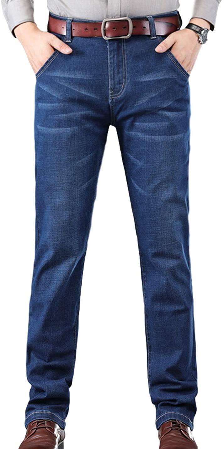 Yeokou Women's Classic Regular Fit Straight Leg Stretch Denim Pants with Pockets