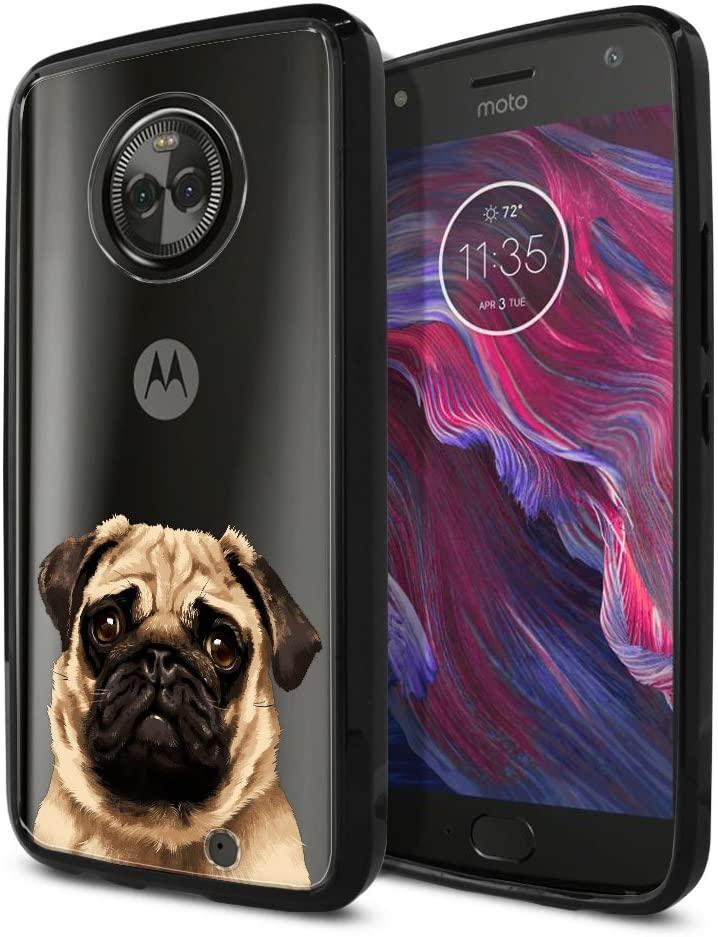 FINCIBO Case Compatible with Motorola Moto X4 / Moto X 4th Gen 2017 5.2 inch, Slim Shock Absorbing TPU Bumper + Clear Hard Protective Case Cover for Moto X4 - Cute Pug Puppy Dog