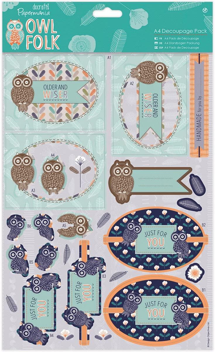DOCrafts Papermania Owl Folk A4 Decoupage Pack-Older & Wiser