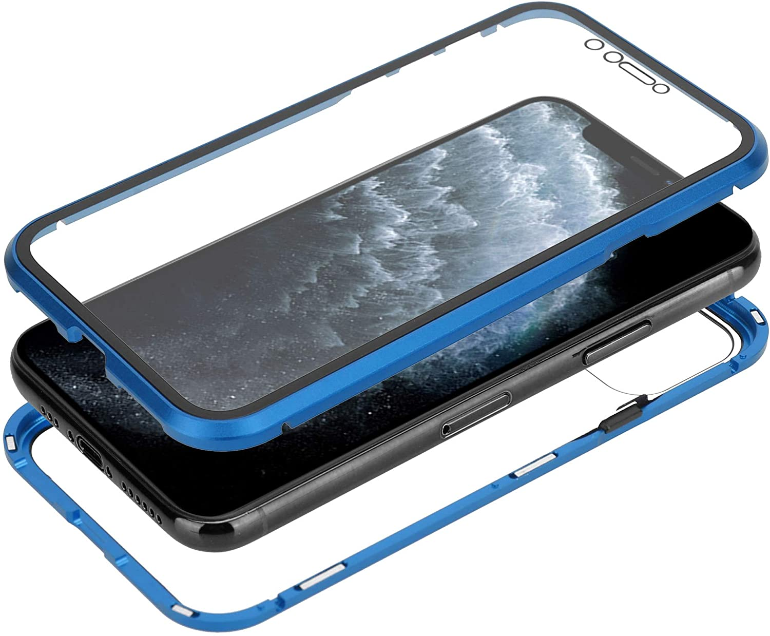 AOZOON iPhone 11 Pro Case with Built-in Screen Protection - Metal Frame with Raised Edges - Wireless Charging Compatible (Blue). You Will GET SE 2020 TPU Rubber Phone Case for iPhone 11Pro for Free.