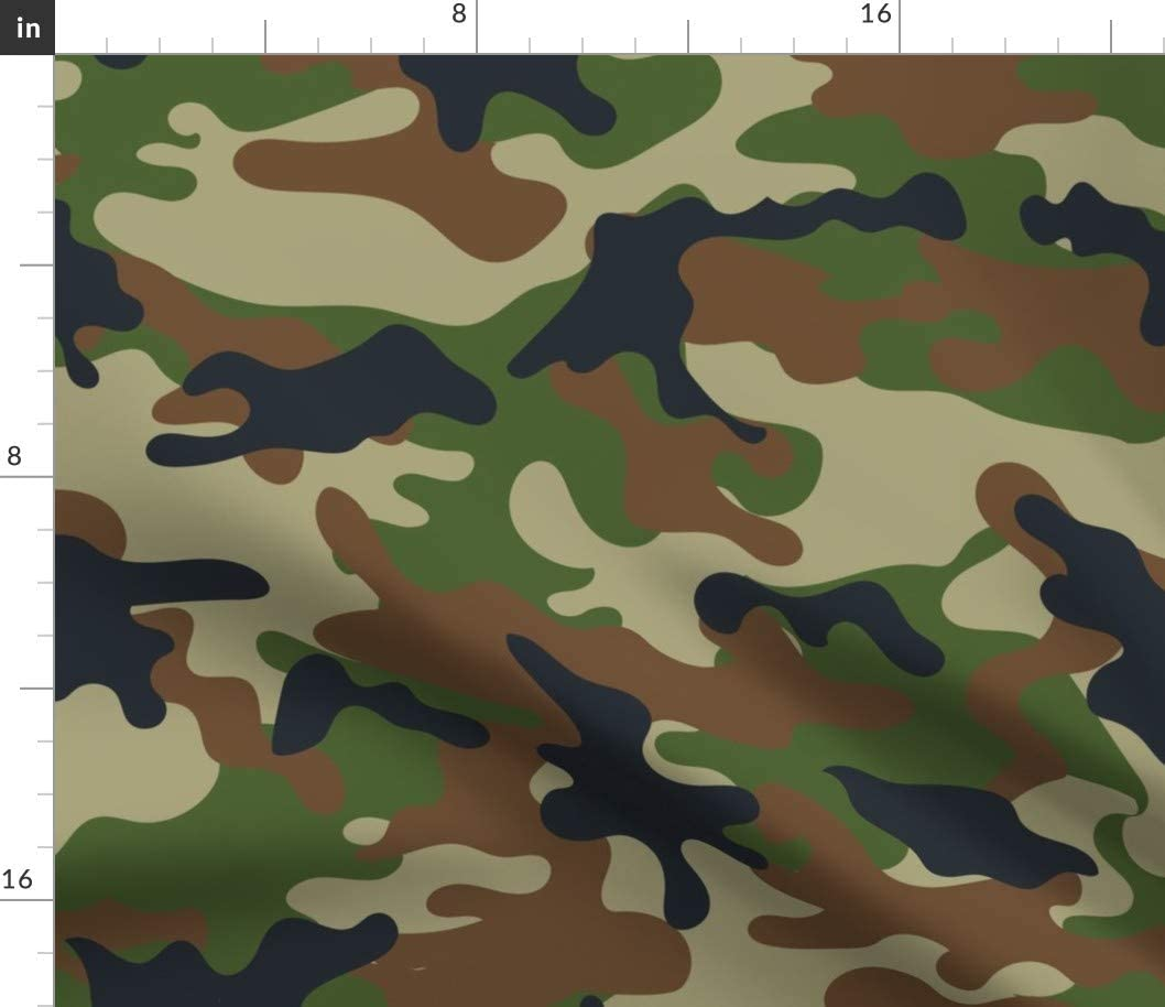 Spoonflower Fabric - Woodland Camo Pattern Forest Camouflage Boy Nursery Printed on Cotton Poplin Fabric by The Yard - Sewing Shirting Quilting Dresses Apparel Crafts