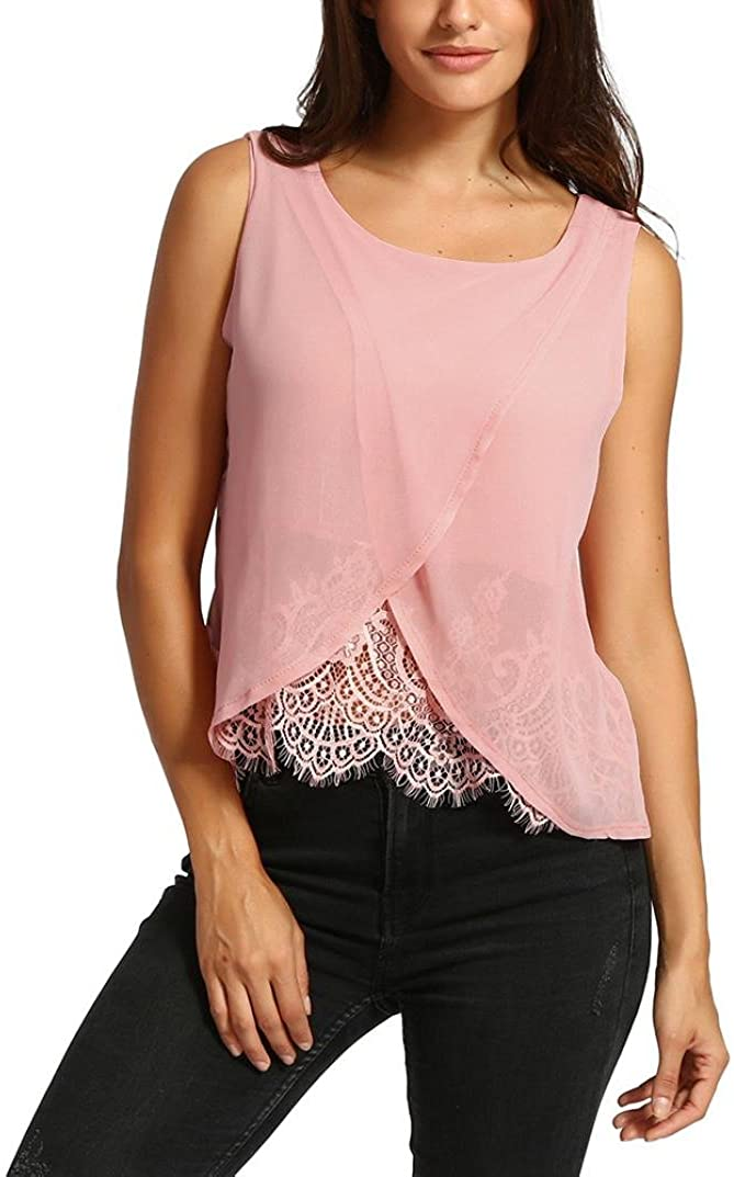 NREALY Women Solid Chiffon Lace Vest Top Sleeveless Casual Tank Blouse Summer Tops T-Shirt