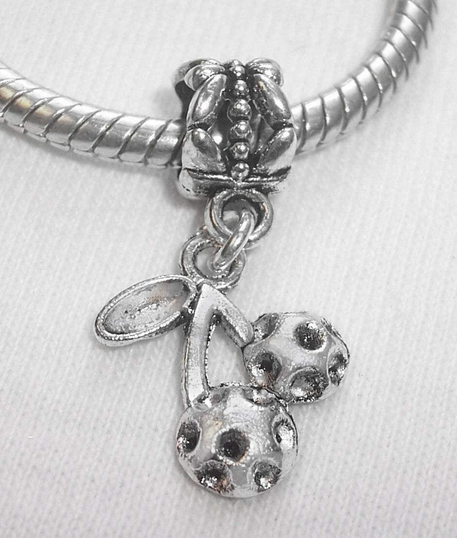Charm Pendant - Jewelry Making DIY Cherries Cherry Fruit Food Casino Dangle Charm for European Bead Slide Bracelets